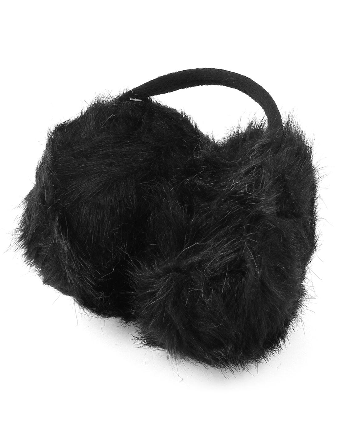 Metal Bow Frame Fluffy Back Ear Covers Earmuffs Black for Girls