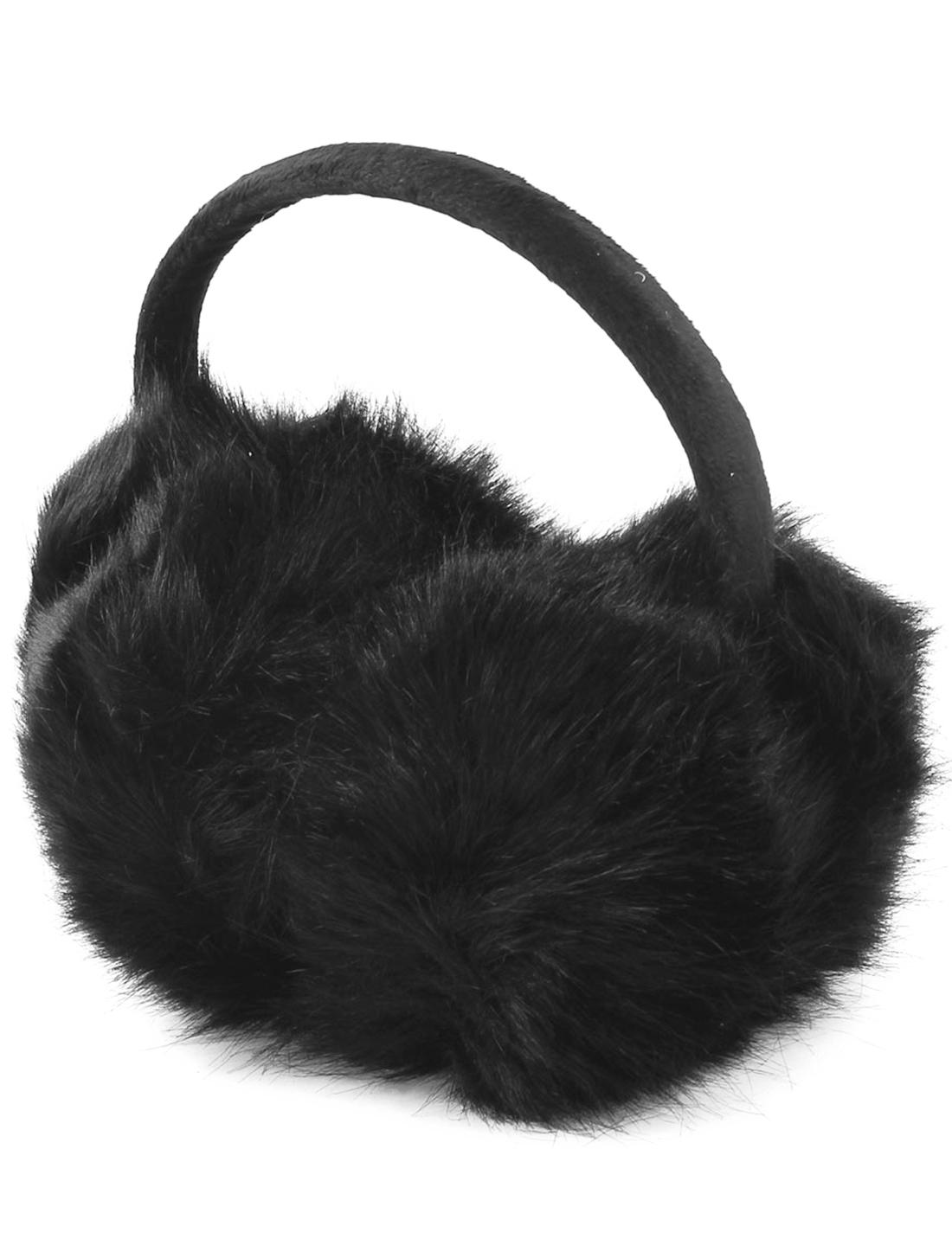 Lady Black Round Pads Winter Ear Warmer Pads Earmuffs Headband