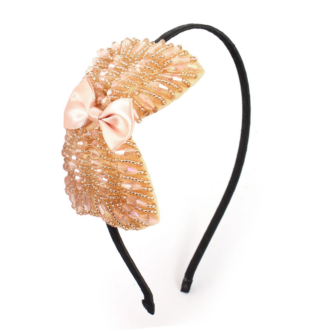 Pink Handcraft Beads Bowtie Accent Metal Frame Headband Hair Hoop