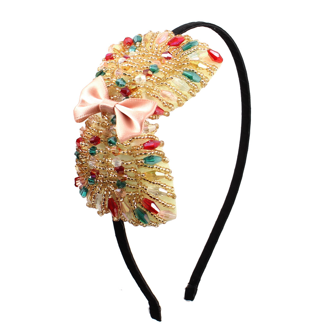 Ladies Assorted Color Beads Bowknot Decor Handcraft Hairband Hair Hoop