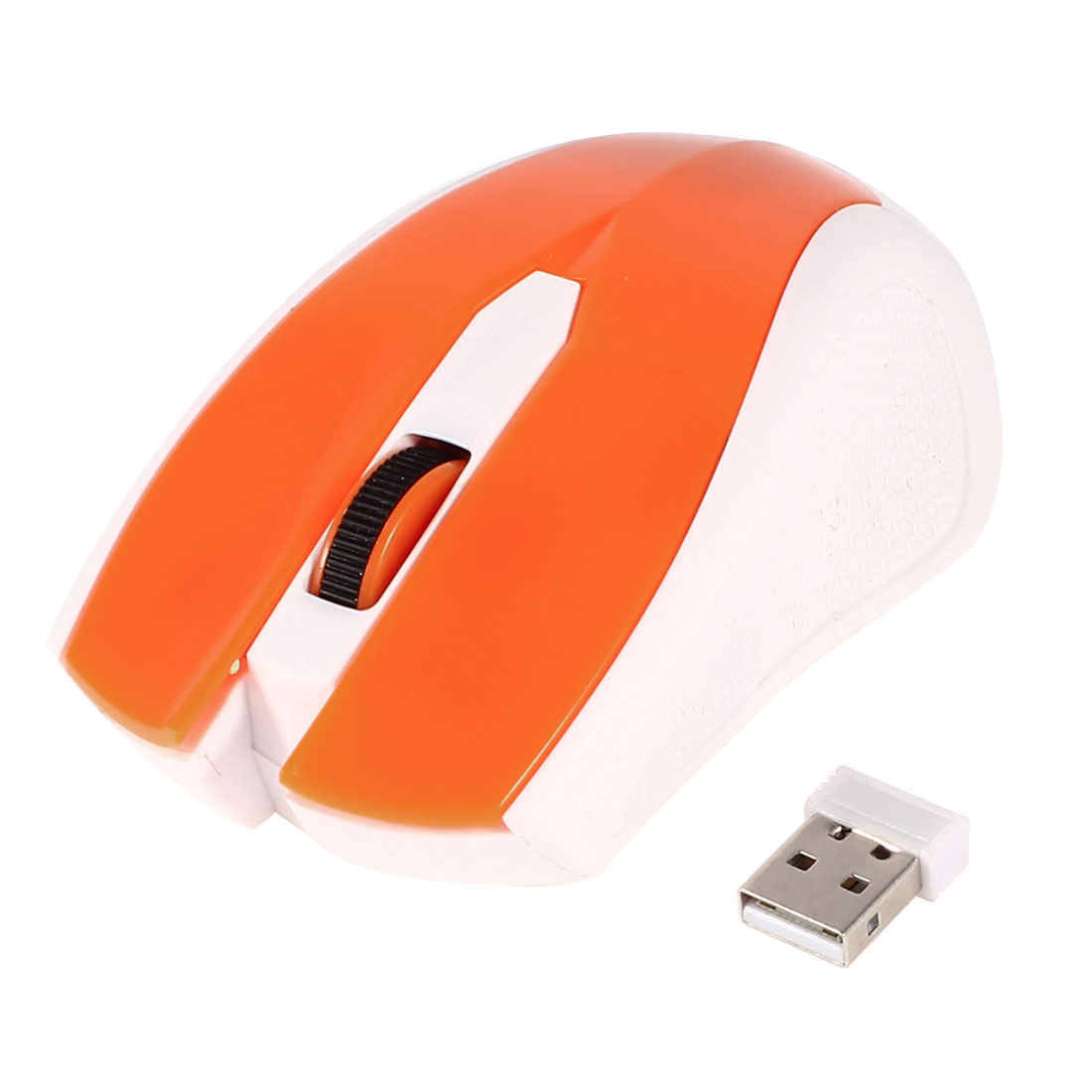 Orange White Plastic 2.4G Wireless Optical Mouse w USB Receiver for Laptop