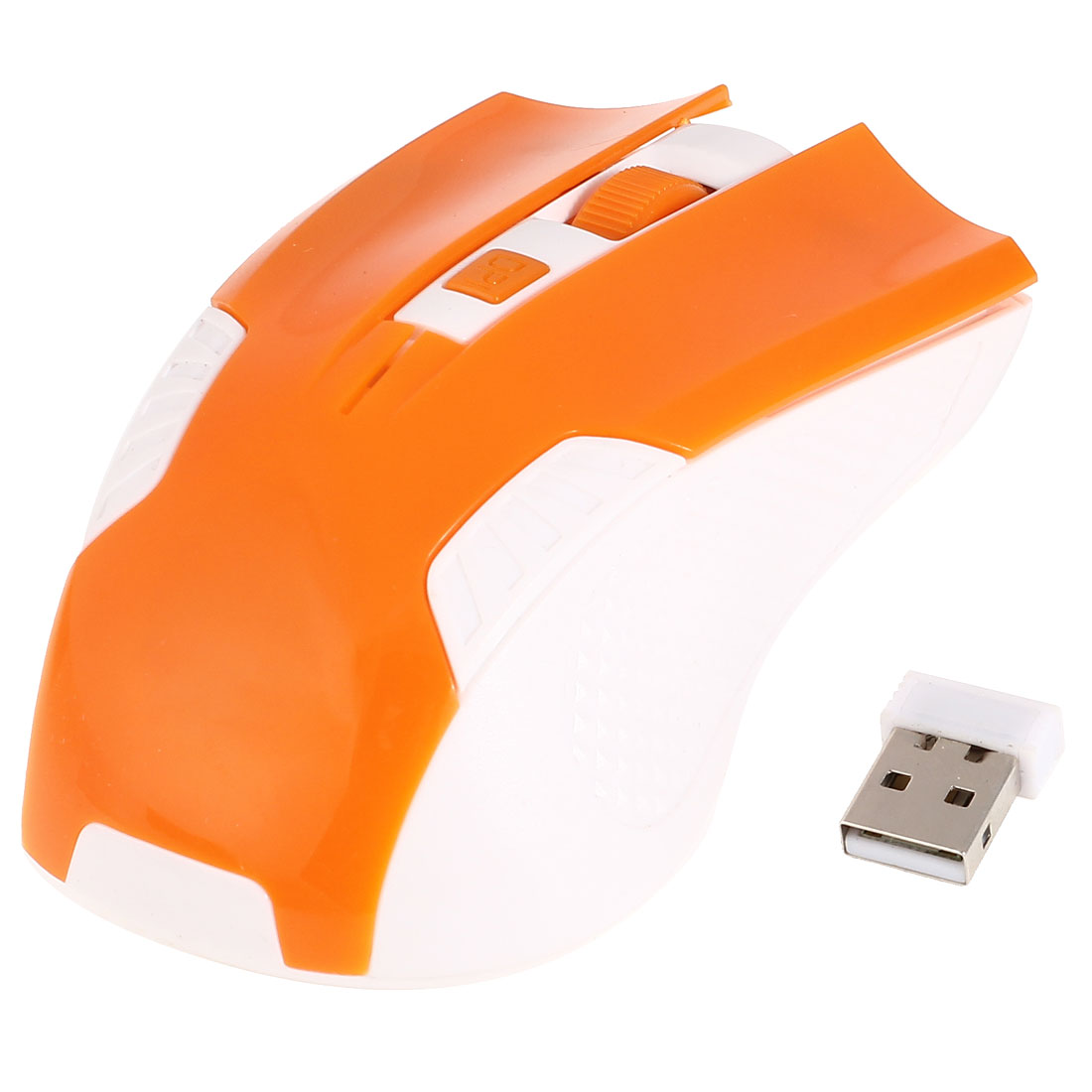 Orange White Plastic 2.4G Wireless 800DPI Optical Mouse w USB Receiver for Notebook