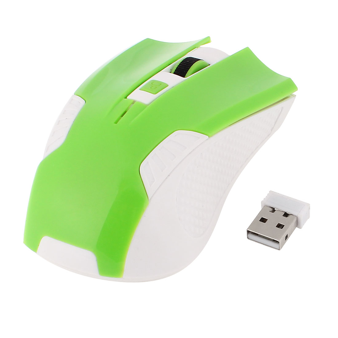 Green White Plastic 2.4G Wireless 800DPI Optical Mouse w USB Receiver for Notebook