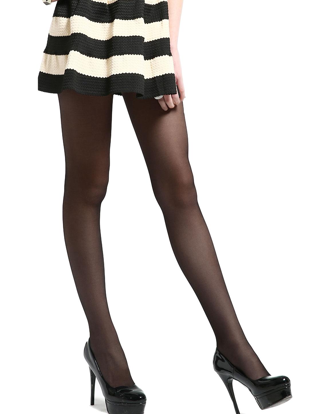 Women Control Top Sheer Stretchy Waist Leggings Pantyhose Black L
