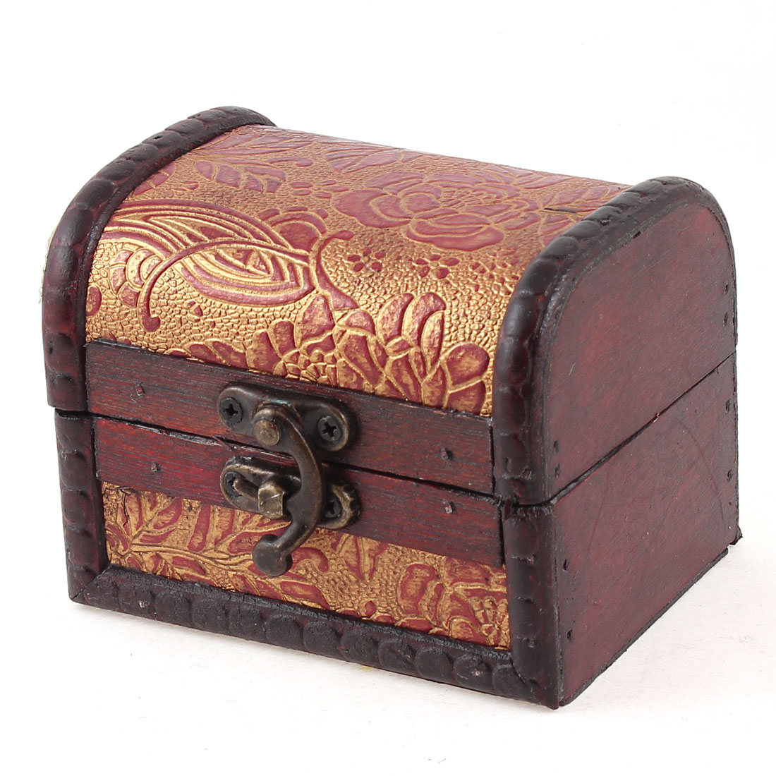 Red Gold Tone Flowers Pattern Retro Style Hook Buckle Jewelry Storage Case Box