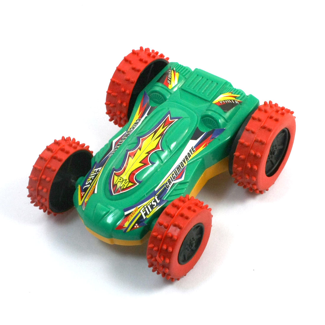 Child Friction Powered Inertia Yellow Dual Side Turn Over Racing Car Toy