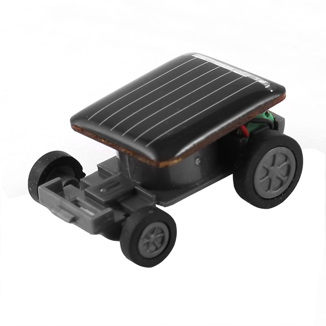 Child Fun Four Wheels Black Plastic Model Solar Energy Car Toy