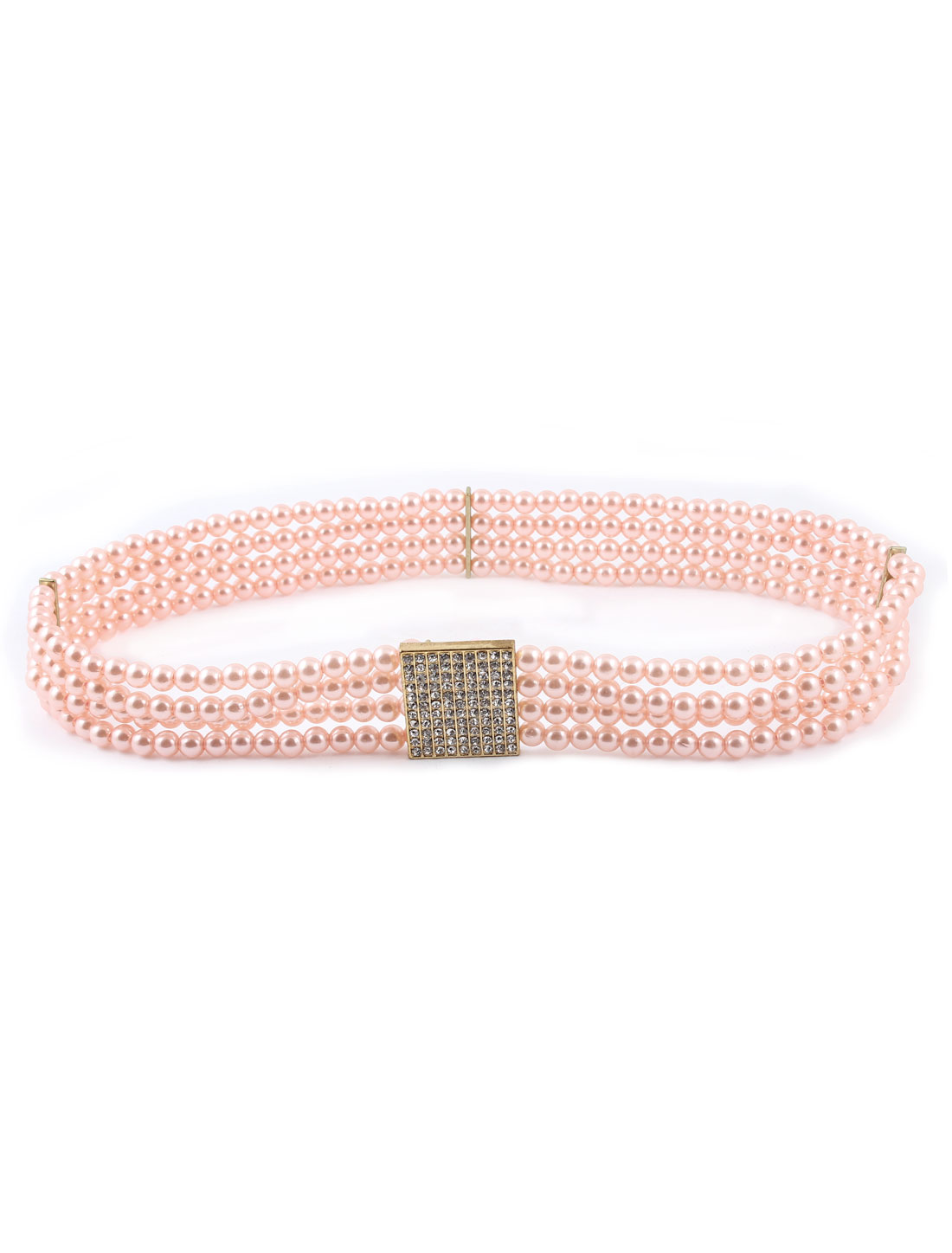 Pink Faux Pearl Elastic Interlocking Buckle 3.5cm Wide Cinch Waist Belt for Lady