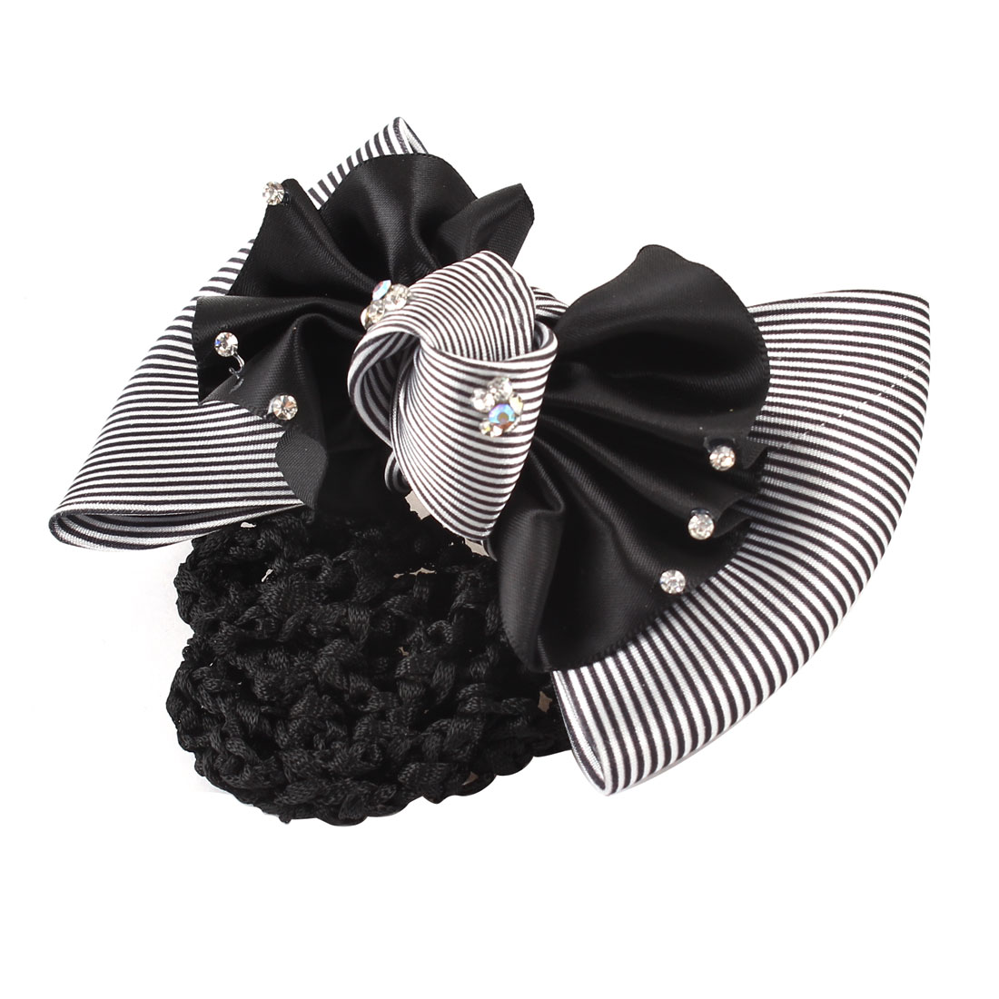 Black White Stripes Ruffle Bowknot Decor Hairclip Net Hair Snood Barrette