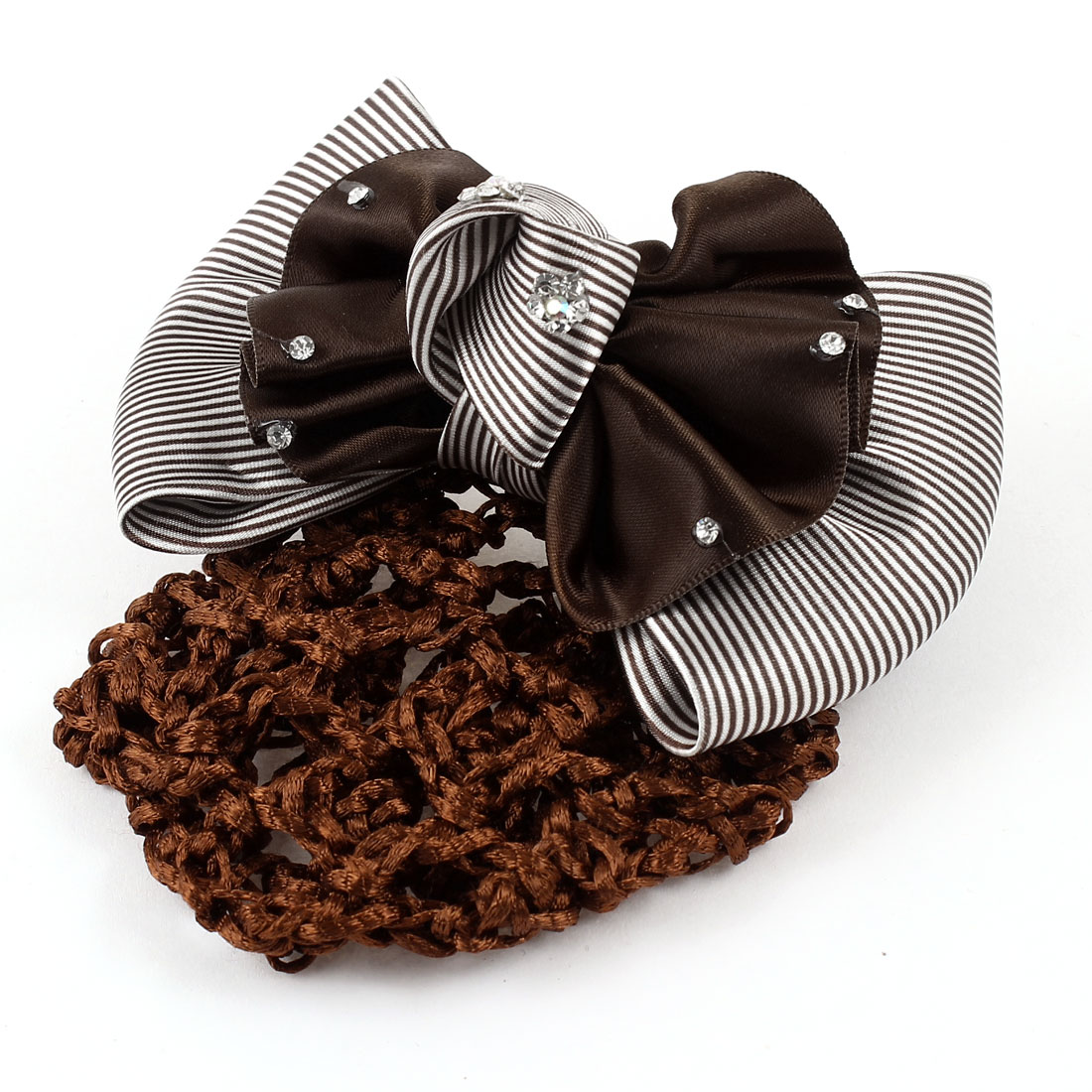Brown White Stripes Ruffle Bowknot Decor Hairclip Net Hair Snood Barrette