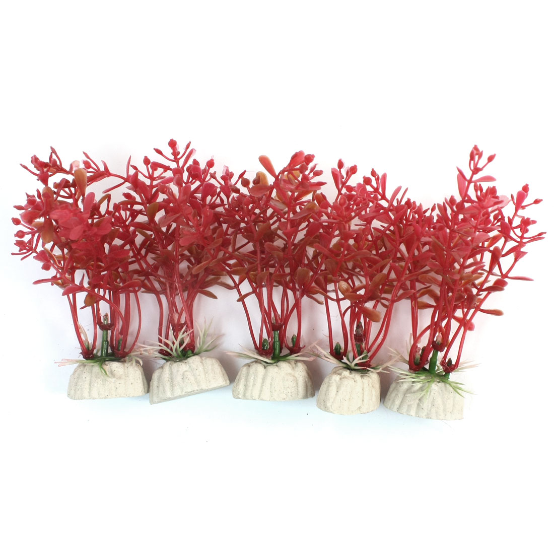 5Pcs 10cm High Red Plastic Water Plant w Ceramic Base for Fish Tank