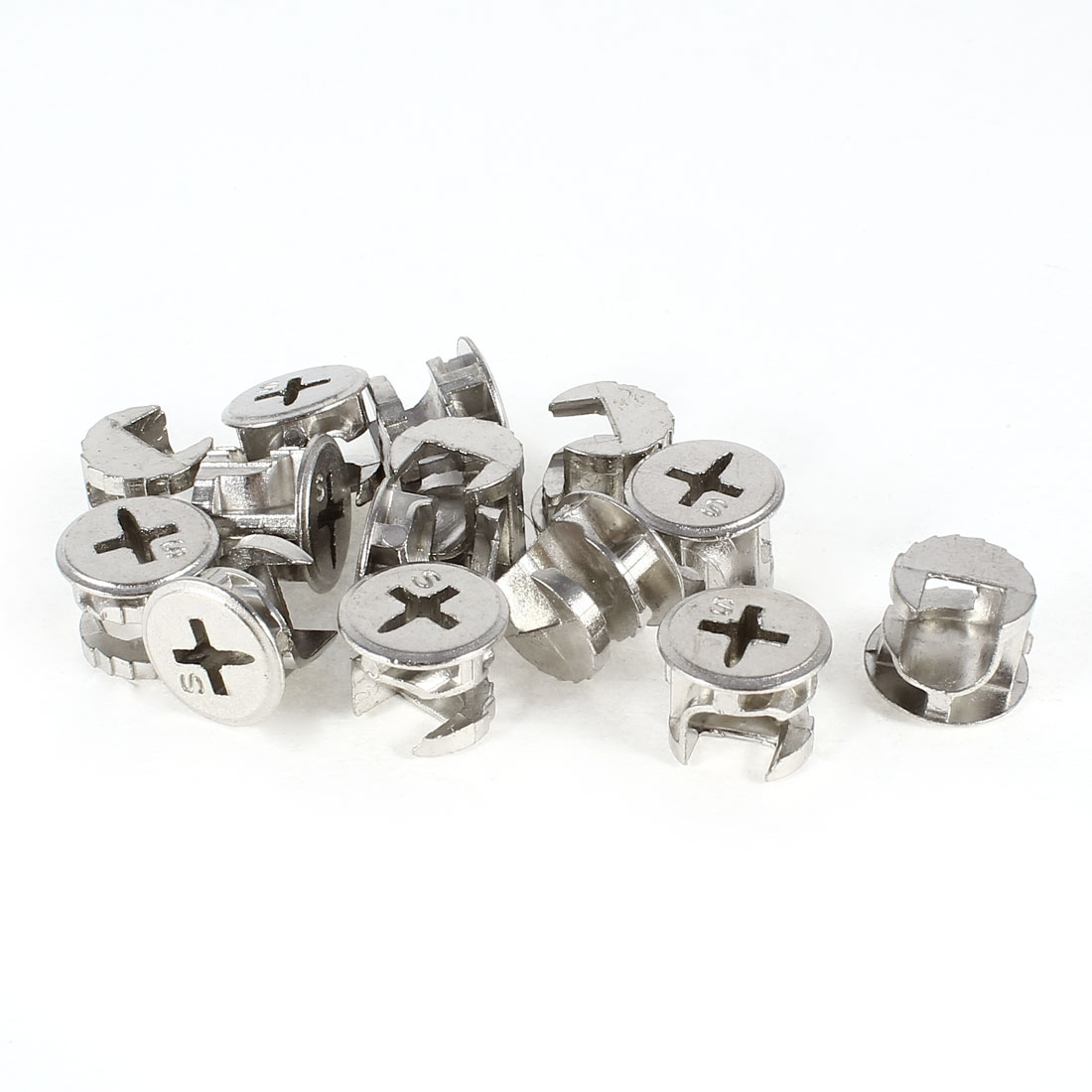 15 Pcs Silver Tone 15mm Diameter Furniture Cam Lock Screw Fittings