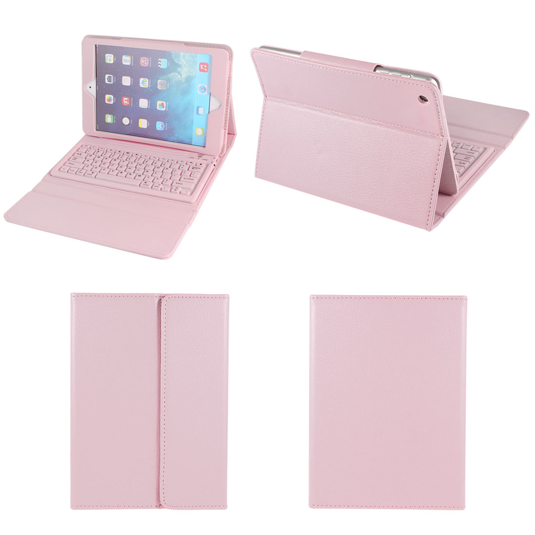 "Pink Faux Leather Stand Case Cover With Wireless bluetooth Keyboard for 7"" Tablet"