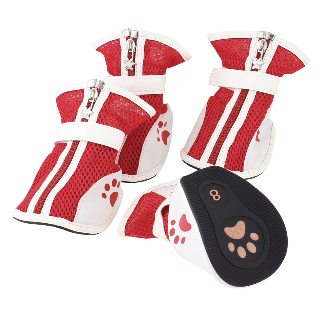 2 Pair Zipper Closure Mesh Design Paw Print Pet Dog Cat Red White Shoes L