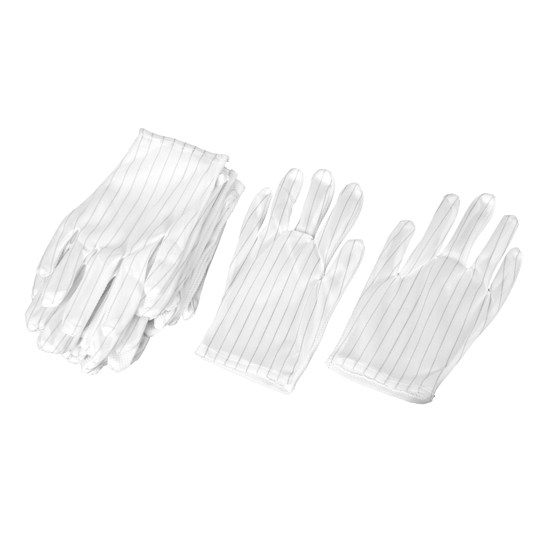 8 Pairs White Stripes Printed Dotted Anti-static Working Gloves for Workers