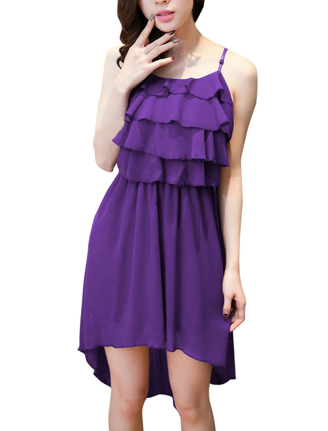 Lady Dark Purple Spaghetti Strap Lining Chiffon Dress S