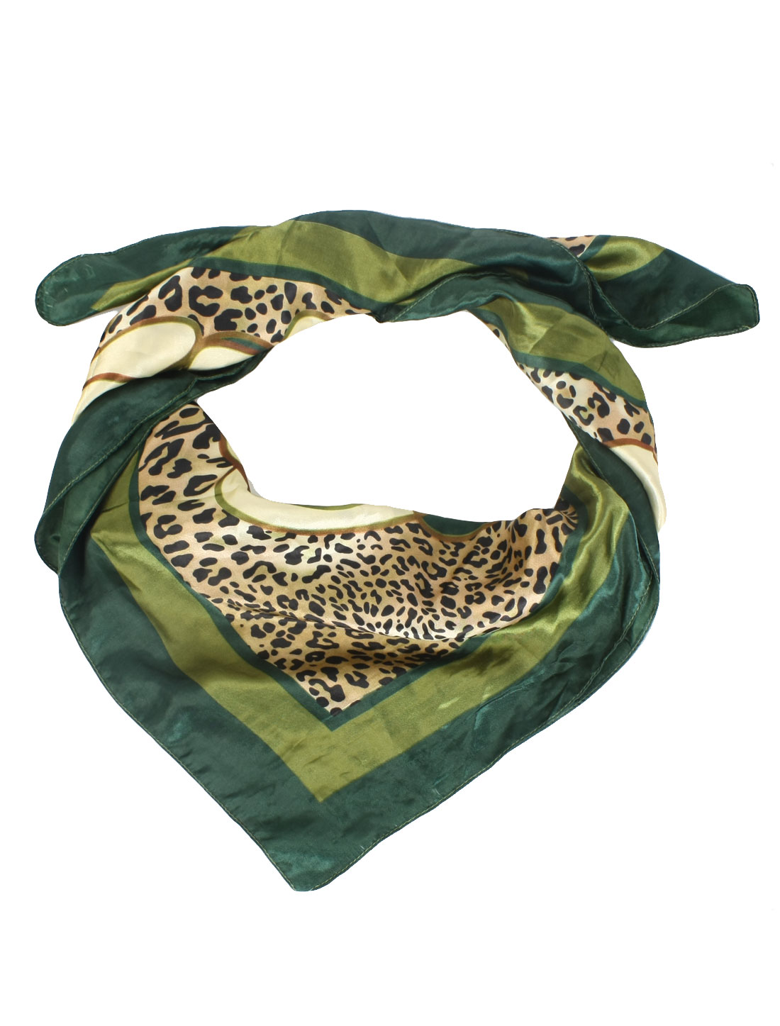 Women Green Beige Polyester Chain Prints Square Shape Scarf Neckerchief