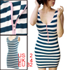 Lady Sleeveless Stripes Pattern Fitted Blue Dress XS