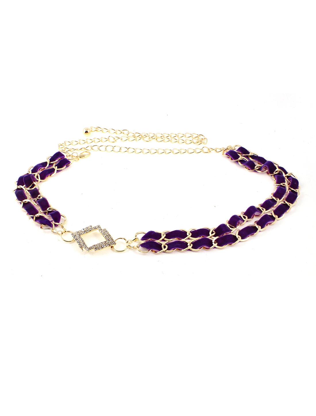 Shiny Rhinestone Inlaid Pendant Purple Band Metal Waist Chain Belt