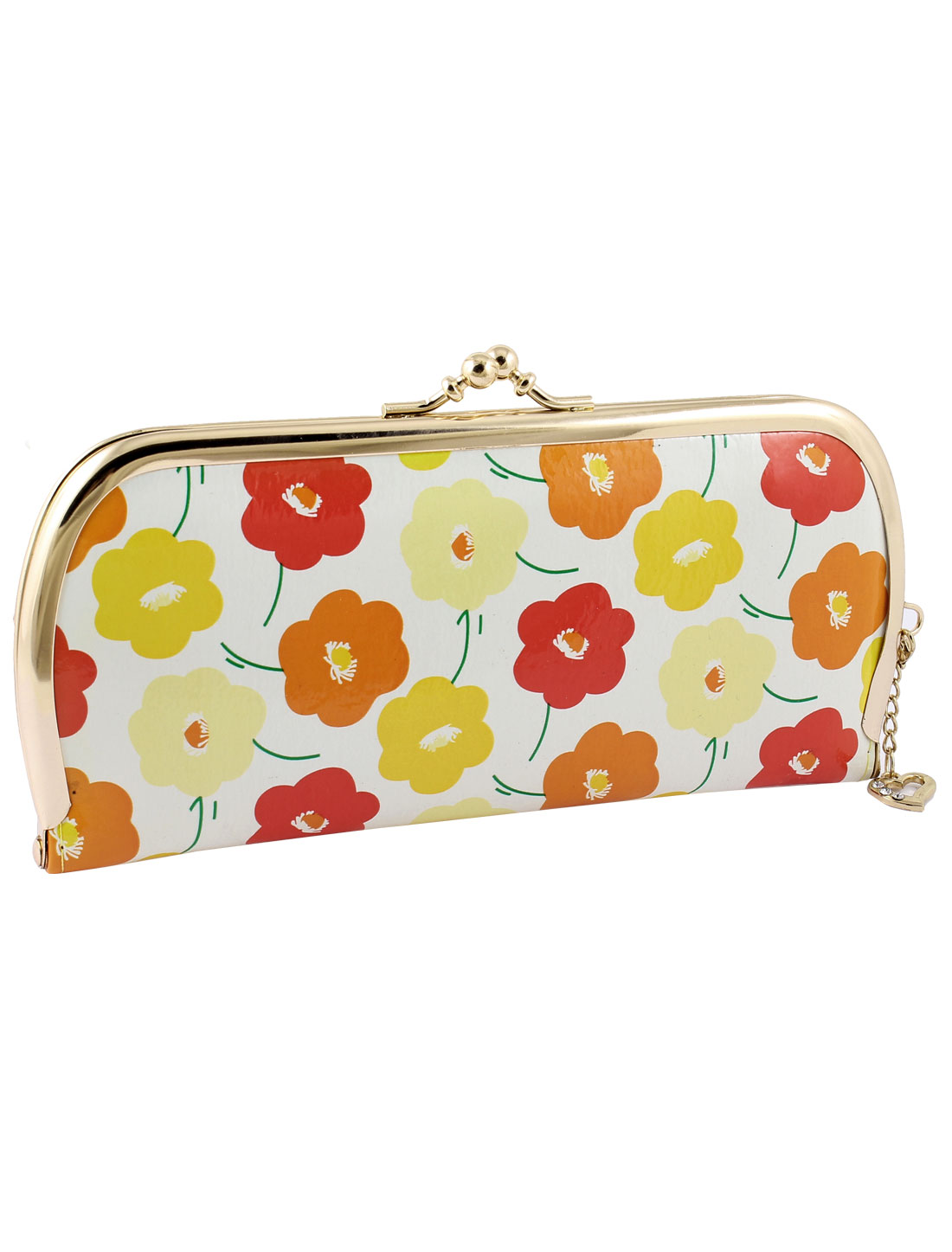 Red Ornage Yellow Flowers Pattern Kisslock Closure Faux Leather Purse for Woman