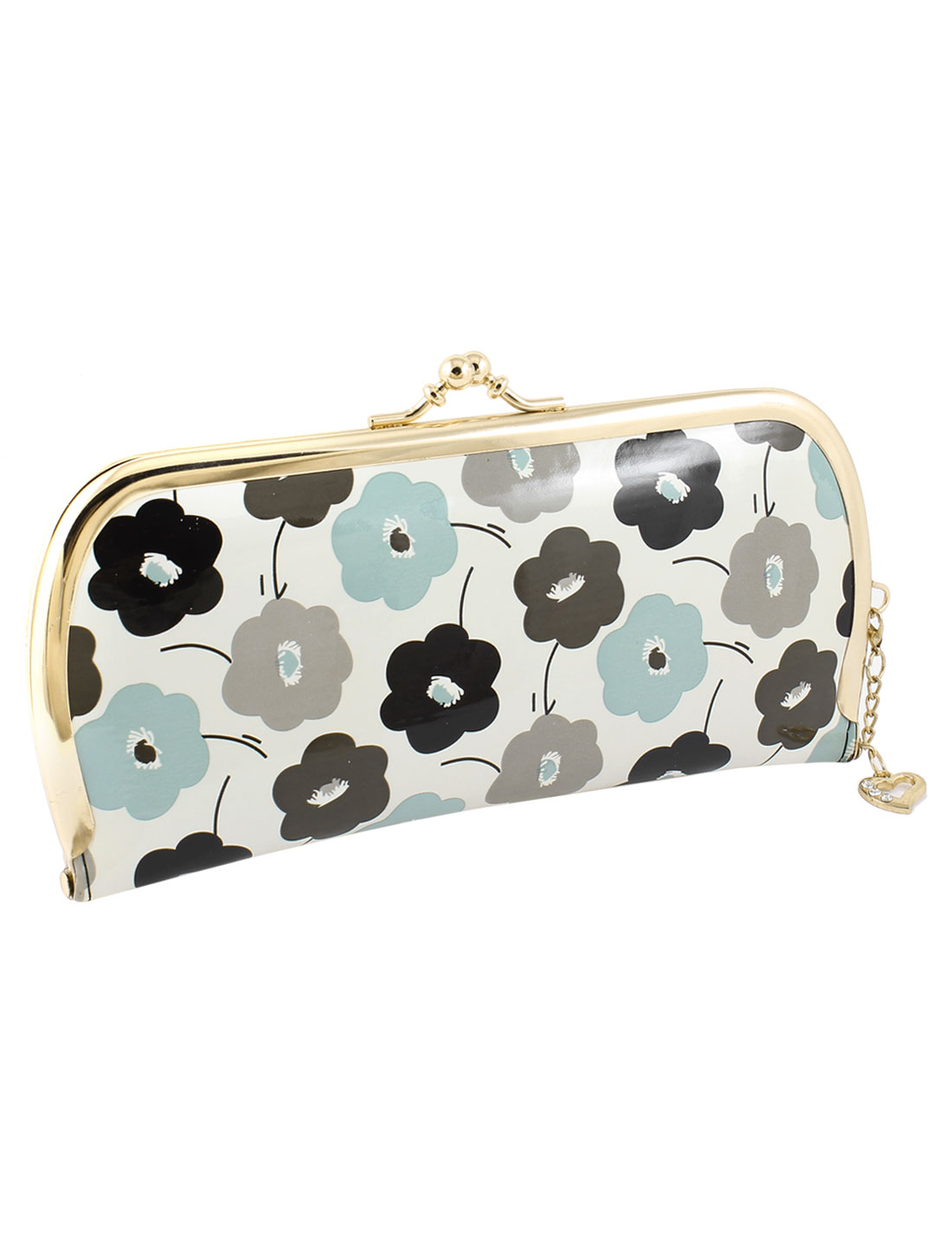 Metal Kisslock Clasp Black Gray Green Flowers Printed Faux Leather Wallet Purse