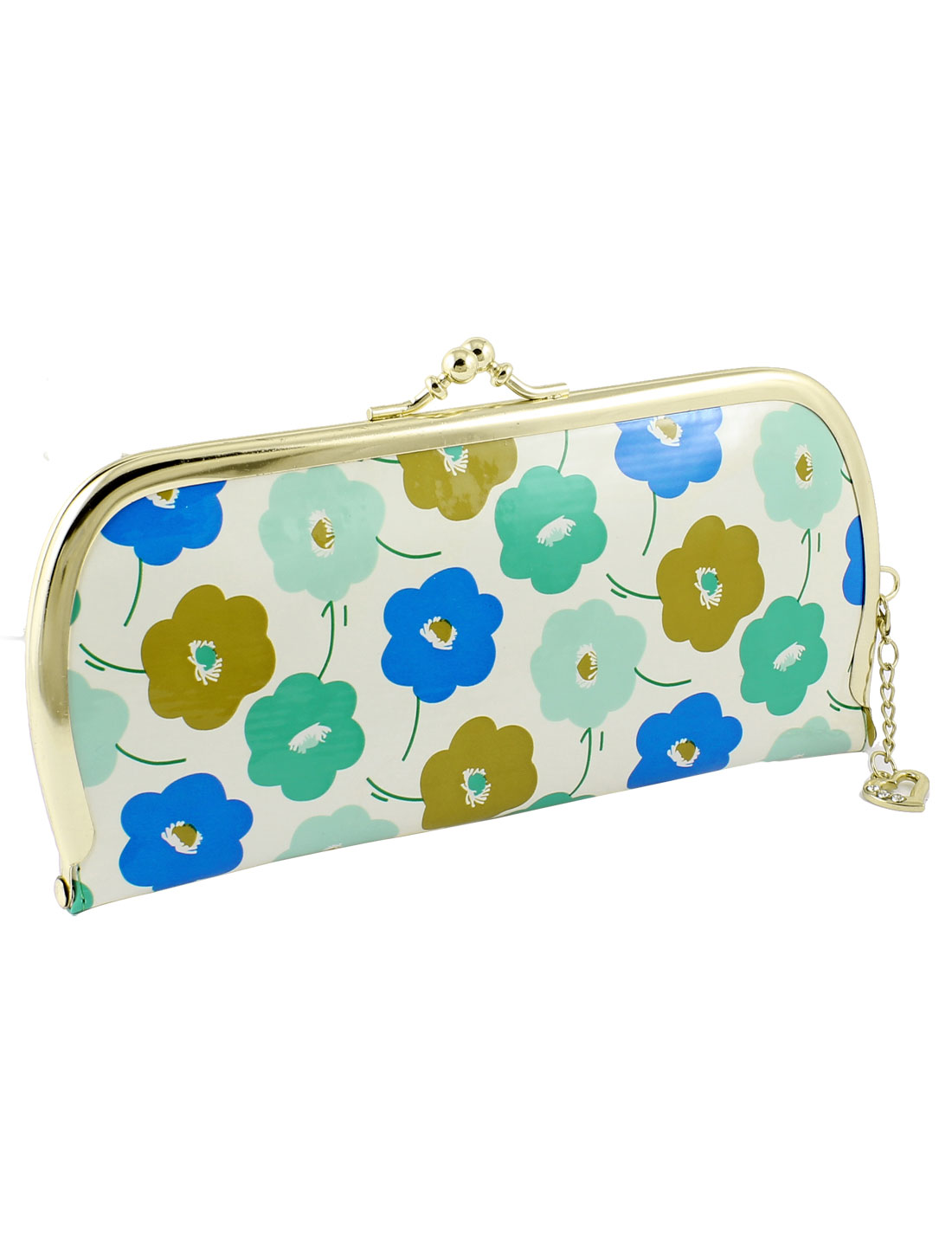 Metal Kisslock Clasp Blue Green Khaki Flowers Printed Faux Leather Wallet Purse