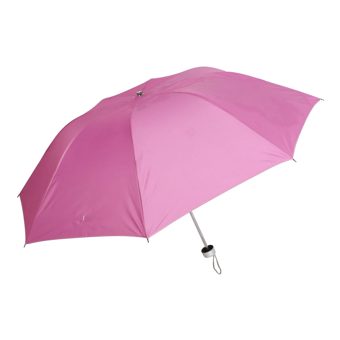 Pink Water Resistant Sunscreen 3 Sections Metal Ribs Foldway Umbrella