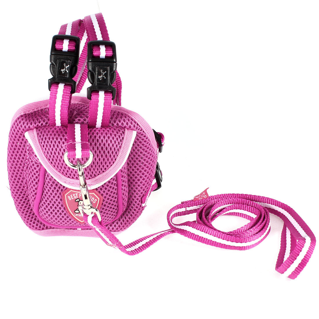 Lobster Clasp Leash Pet Dog Puppy Backpack Harness Fuchsia Size S
