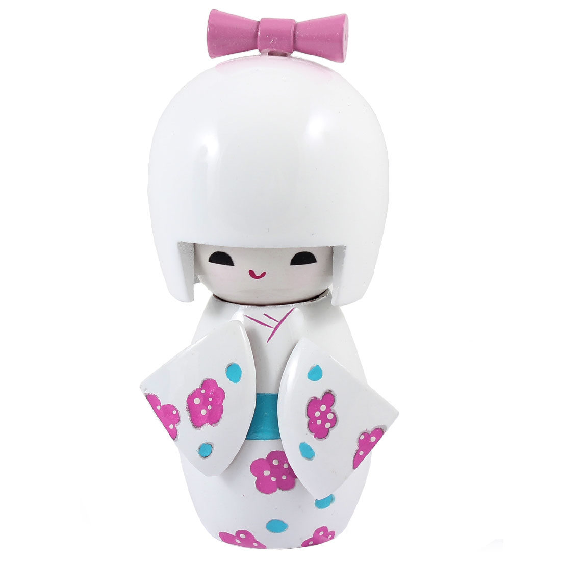 Pink Flower White Japanese Kimono Kokeshi Wooden Doll Desk Decoration