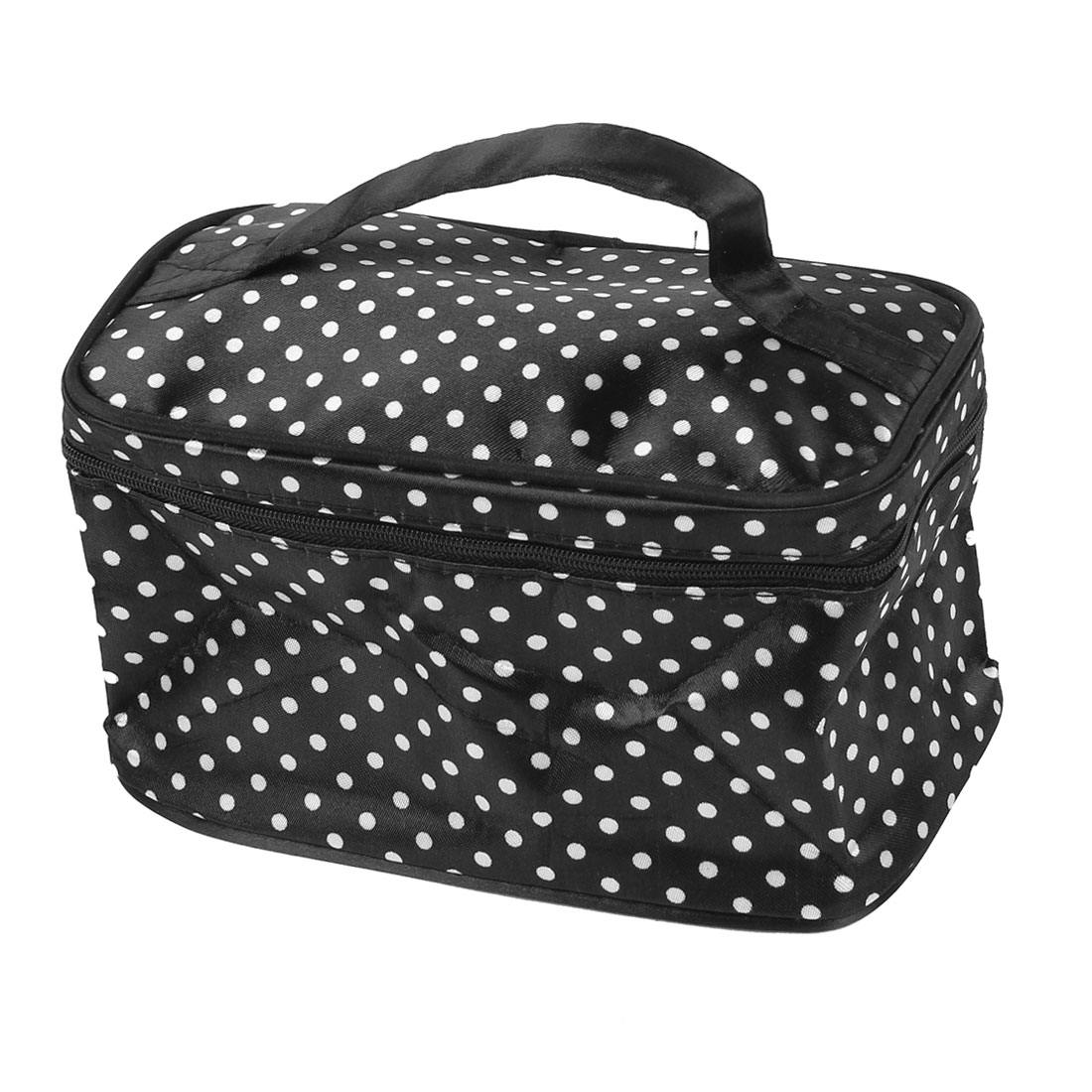 White Dots Print Mirror Pockets Hand Strap Cosmetic Makeup Bag Black