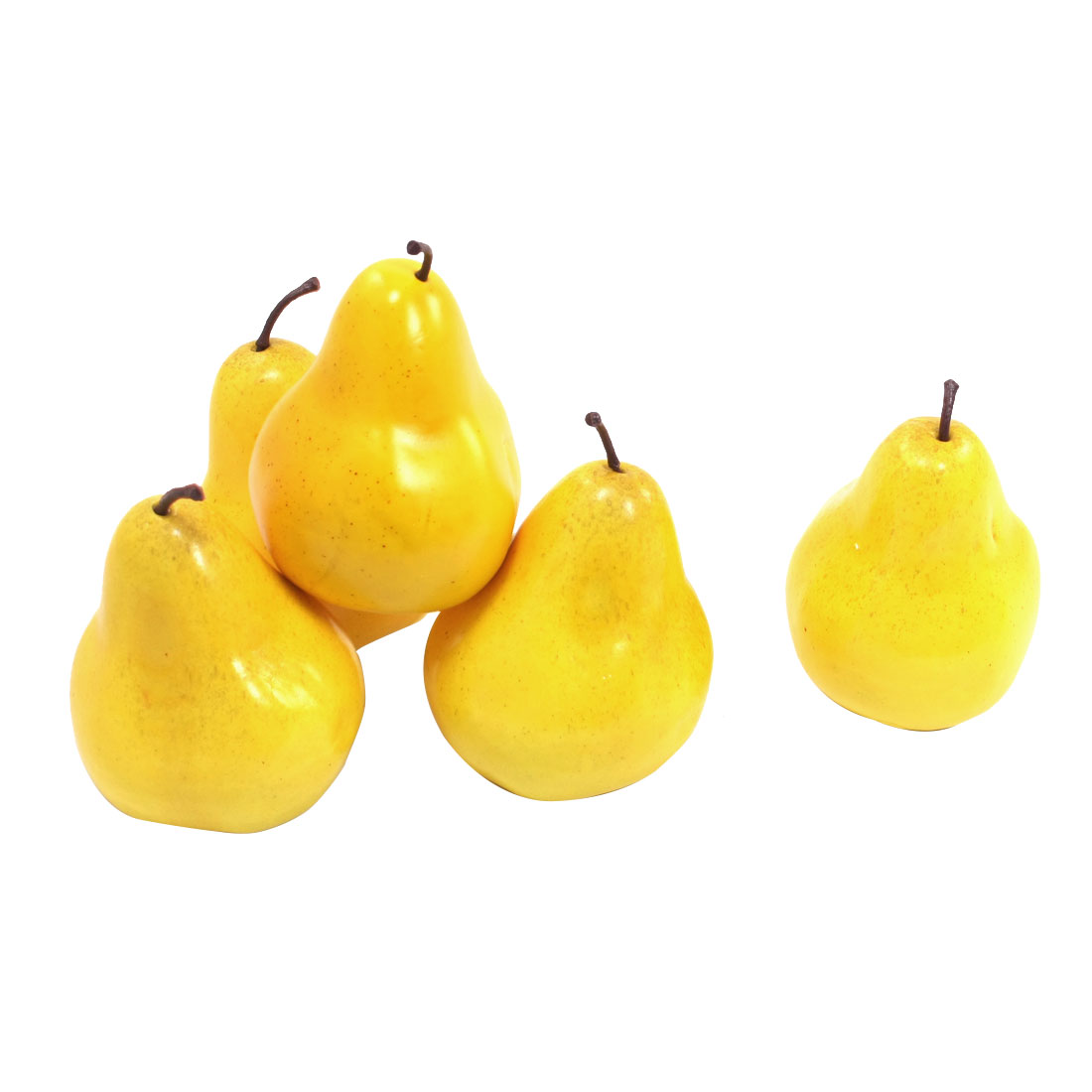 Office Desk Display Foam Craft Simulated Pear Ornament Yellow 5 Pcs