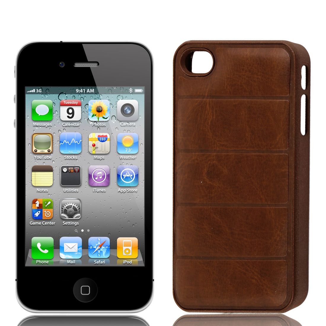 Brown Faux Leather Coated Hard Plastic Back Cover Case for iPhone 4 4G 4S