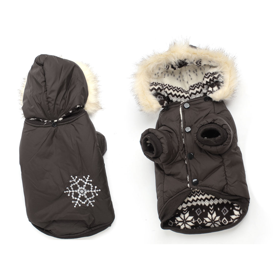 Coffee Color Snowflake Pattern Single Breasted Pet Dog Cat Coat Apparel M