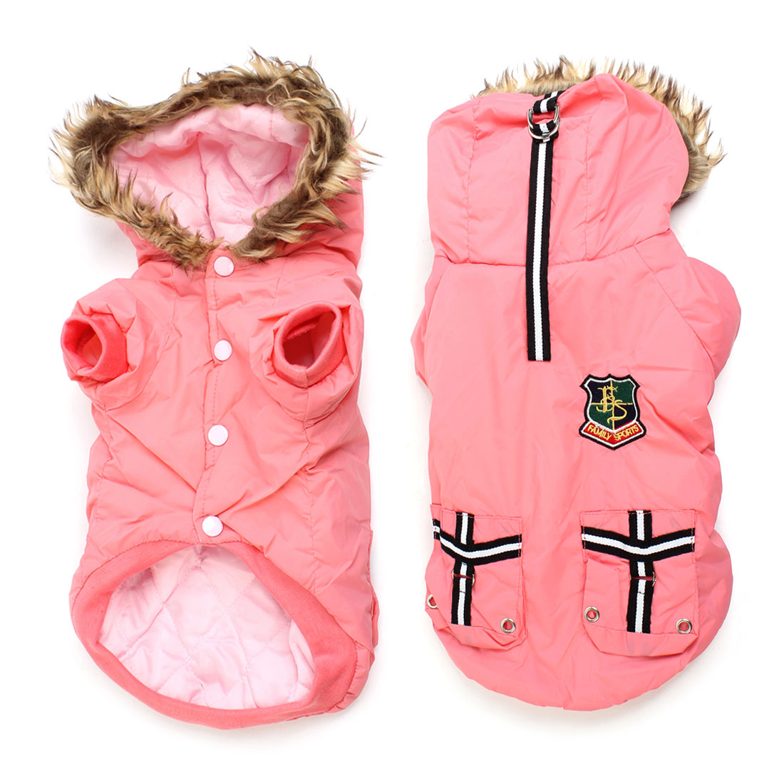 Pink Pocket Decor Hoodie Single Breasted Pet Dog Puppy Coat Apparel M