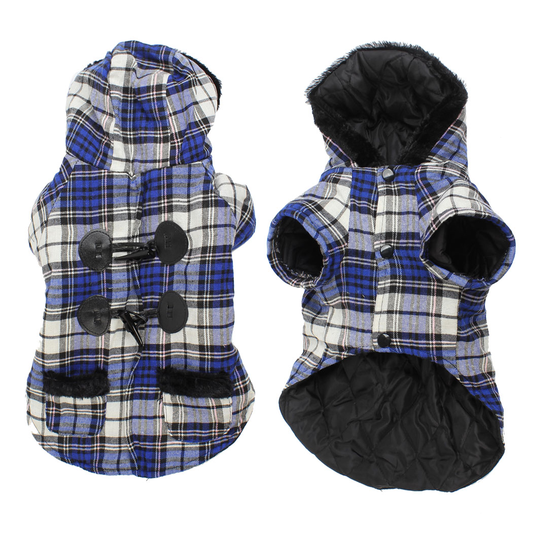 Blue White Grid Printed Single Breasted Hooded Pet Dog Yorkie Coat Apparel M