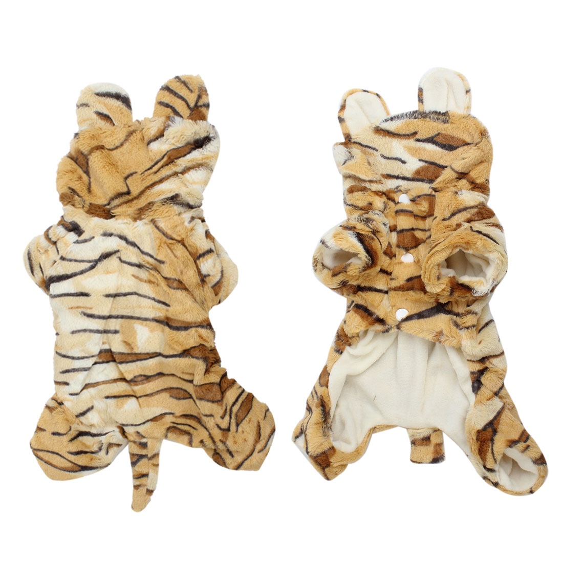 Brown Beige Tiger Shaped Single Breasted Hooded Pet Dog Jumpsuit Romper XS