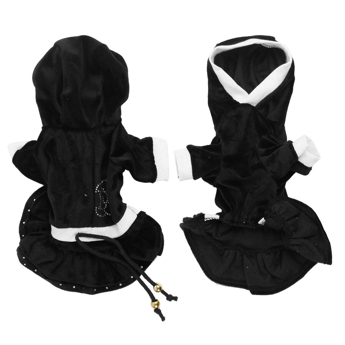 Black Rhinestone Detail Sleeves Layered Hooded Pet Dog Cat Dress Skirt XS