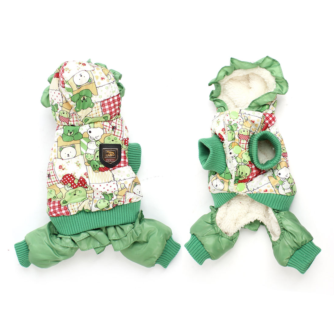 Green White Bear Pattern Press Stud Button Pet Dog Cat Jumpsuit Romper XXS