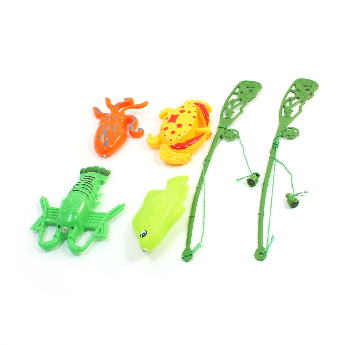 Kid Child Colorful Plastic Crab Octopus Fish Magnetic Fishing Toy Kit