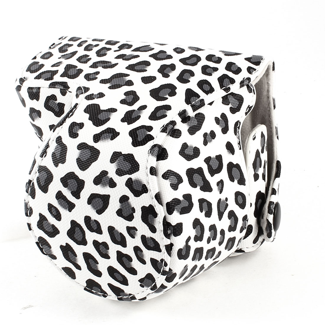 White Leopard Print PU Leather Camera Bag Case w Shoulder Strap for NEX-3N