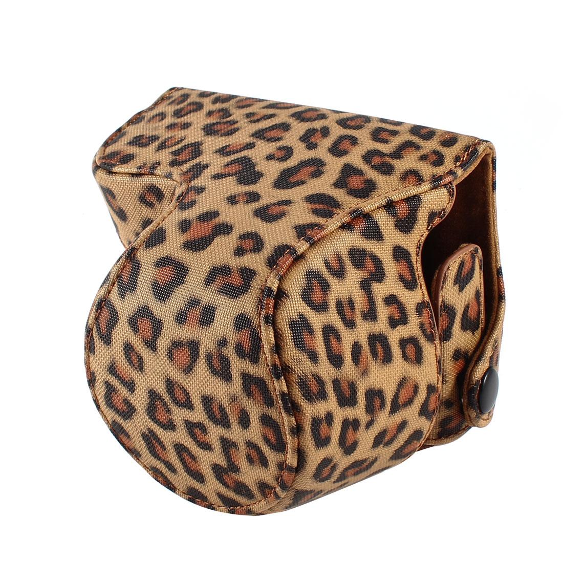 Brown Leopard Print PU Leather Camera Bag Case w Shoulder Strap for NEX-3N
