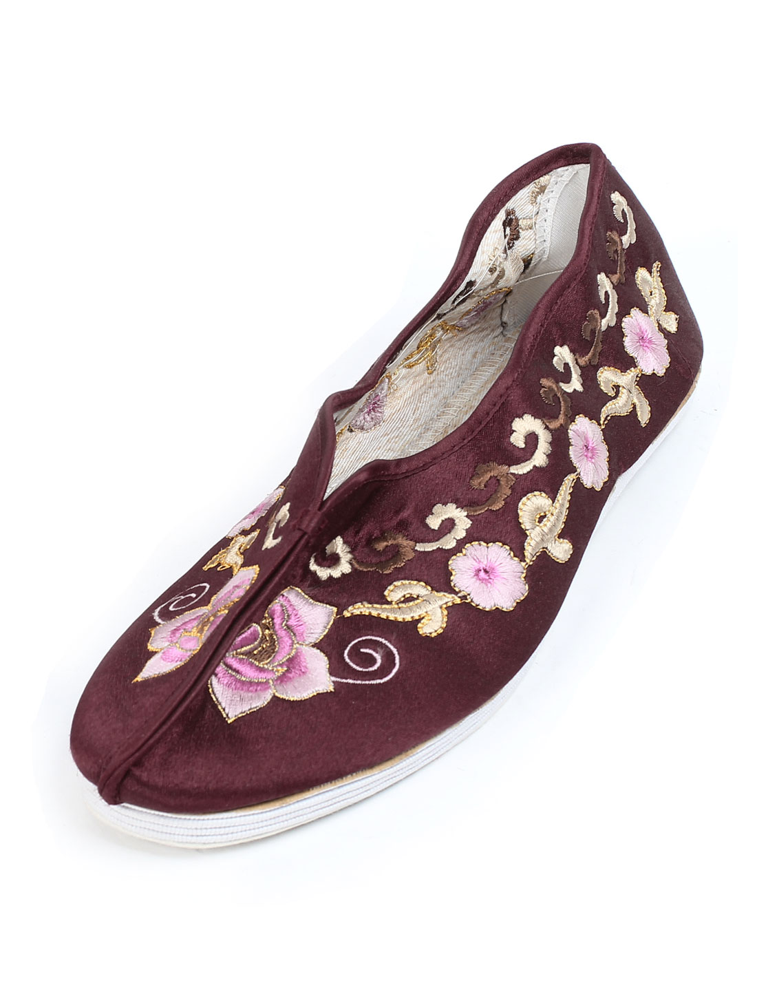 Ladies Burgundy Floral Pattern Slip On Cotton Blends Flat Shoes Pair