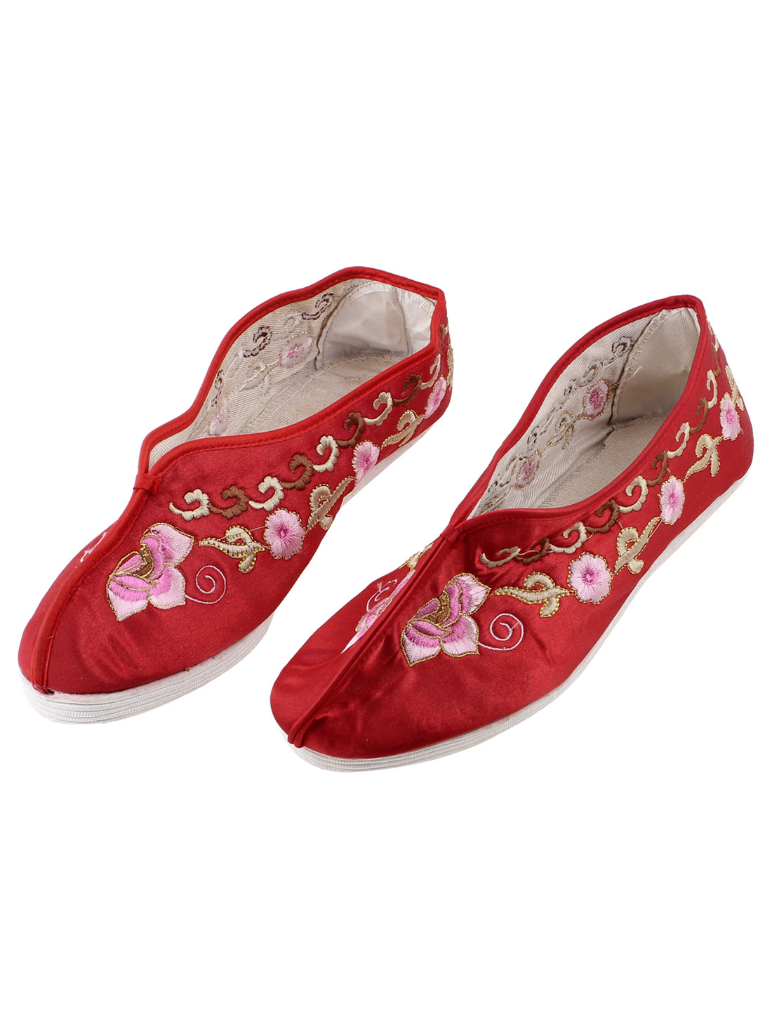 Ladies Red Floral Pattern Slip On Cotton Blends Sneaker Flat Shoes Pair UK Size 3
