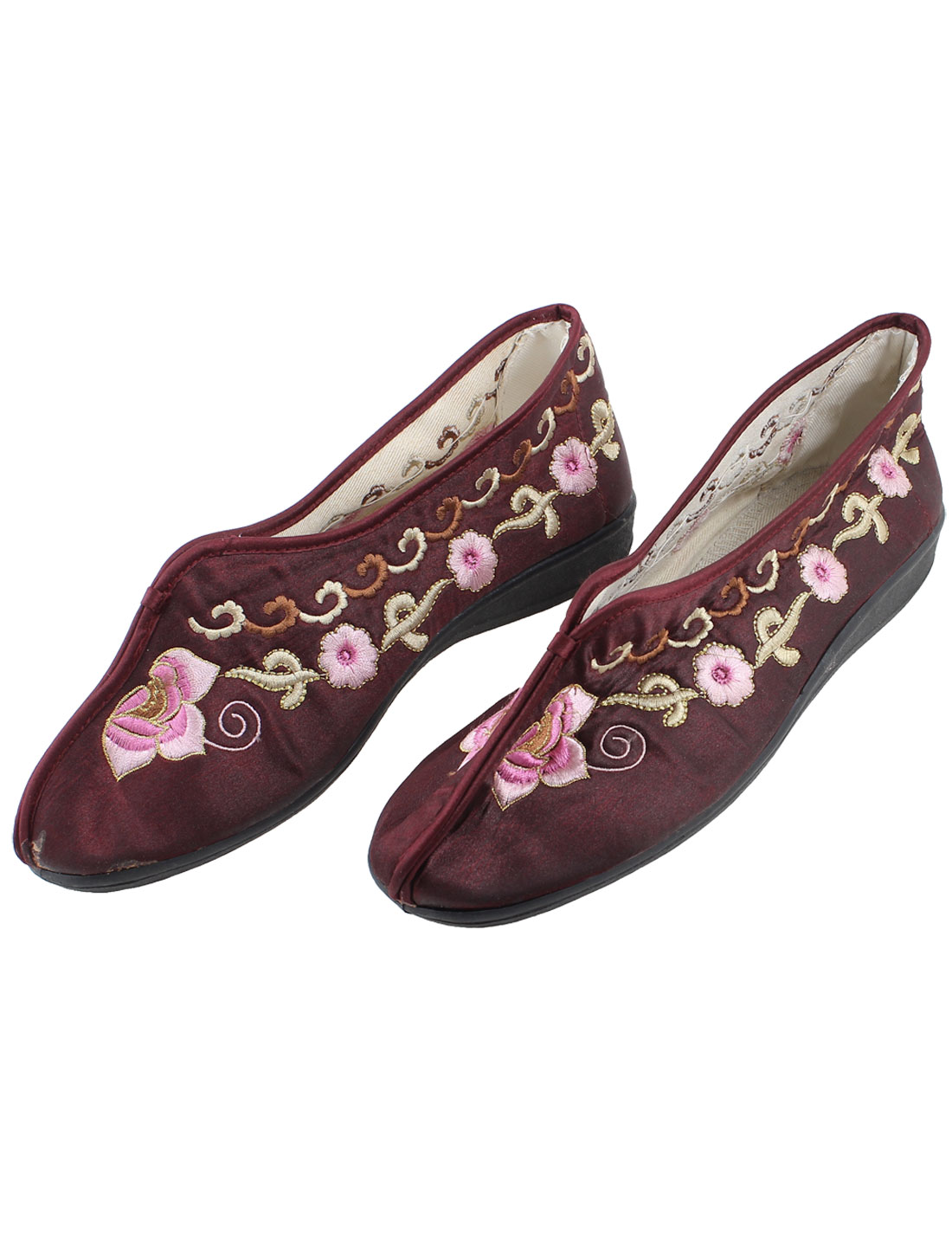 Ladies Dark Red Floral Pattern Cotton Blends Flat Shoes Pair EU 34