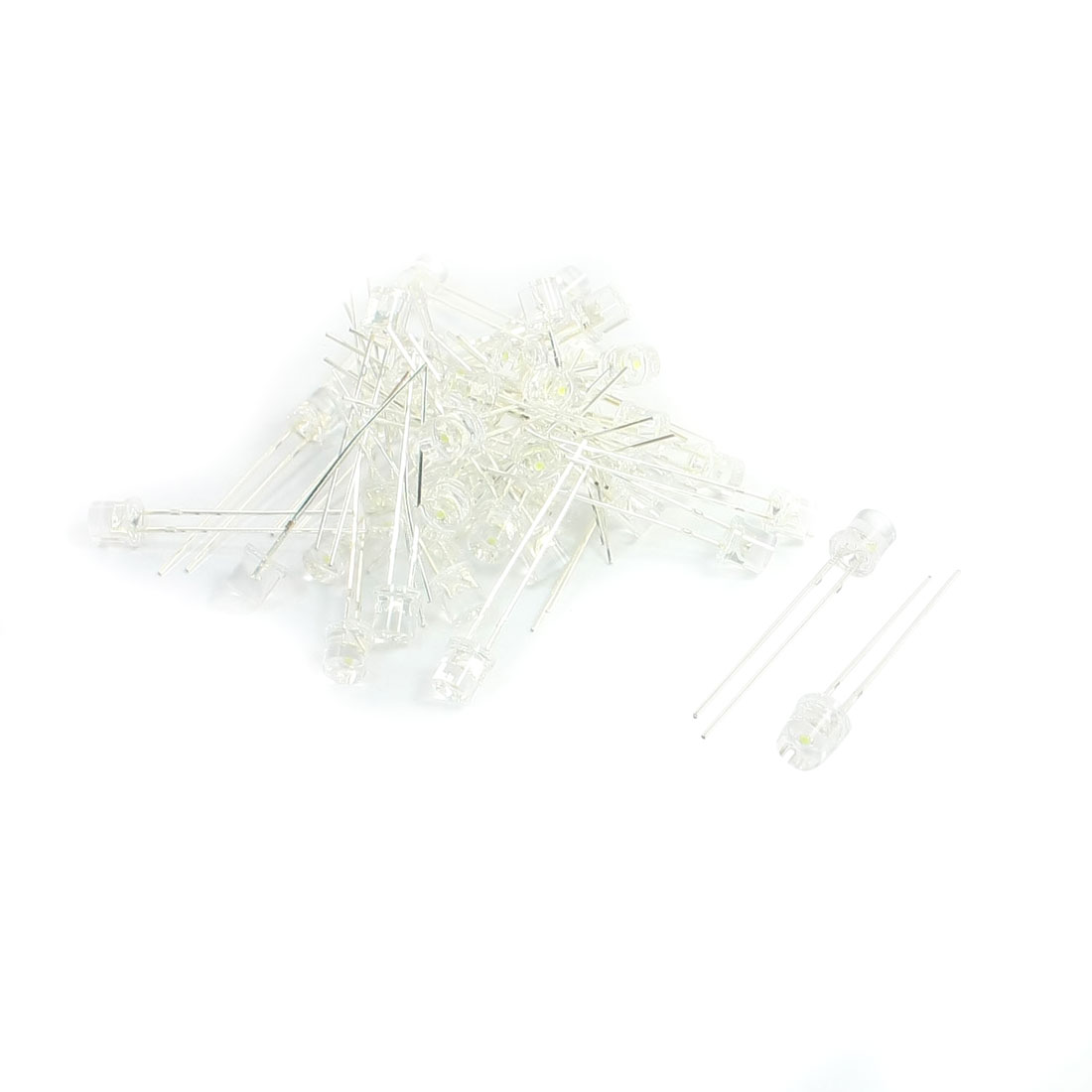 50Pcs 5 x 5mm Soldering Round Head White LED Light Diodes DC3V 500mA