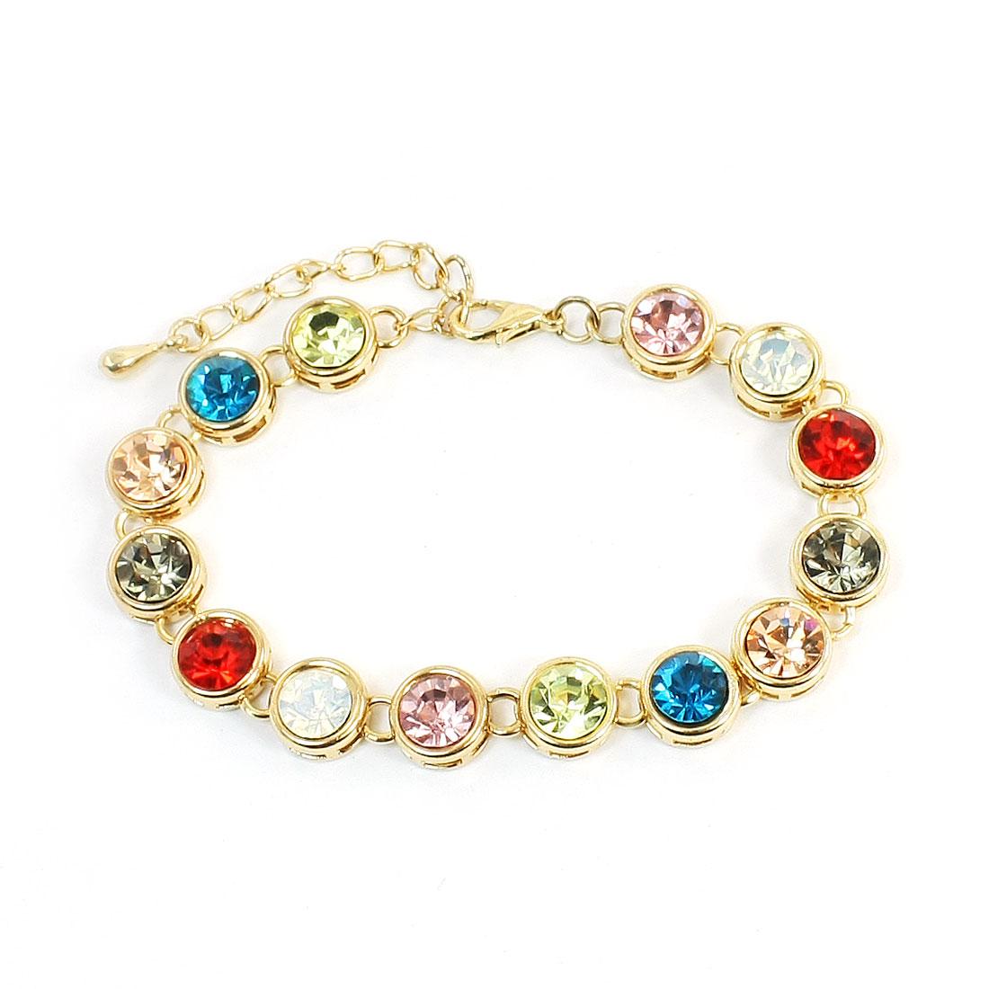 Women Lobster Hook Multicolor Rhinestone Inlaid Gold Tone Wrist Bracelet