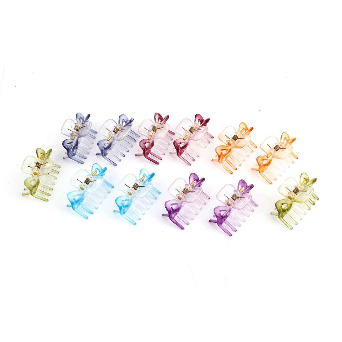 12Pcs Assorted Color Spring Loaded Plastic Double Teeth Hair Claw Clip Comb for Woman