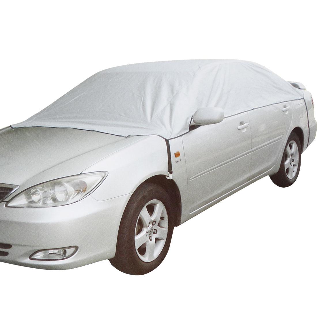 356 x 232cm Silver Tone Non-woven Reflective Half Cover for Auto Car