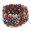 Women Red Green Plastic Beads Elastic Bracelet Bangle 20cm Girth