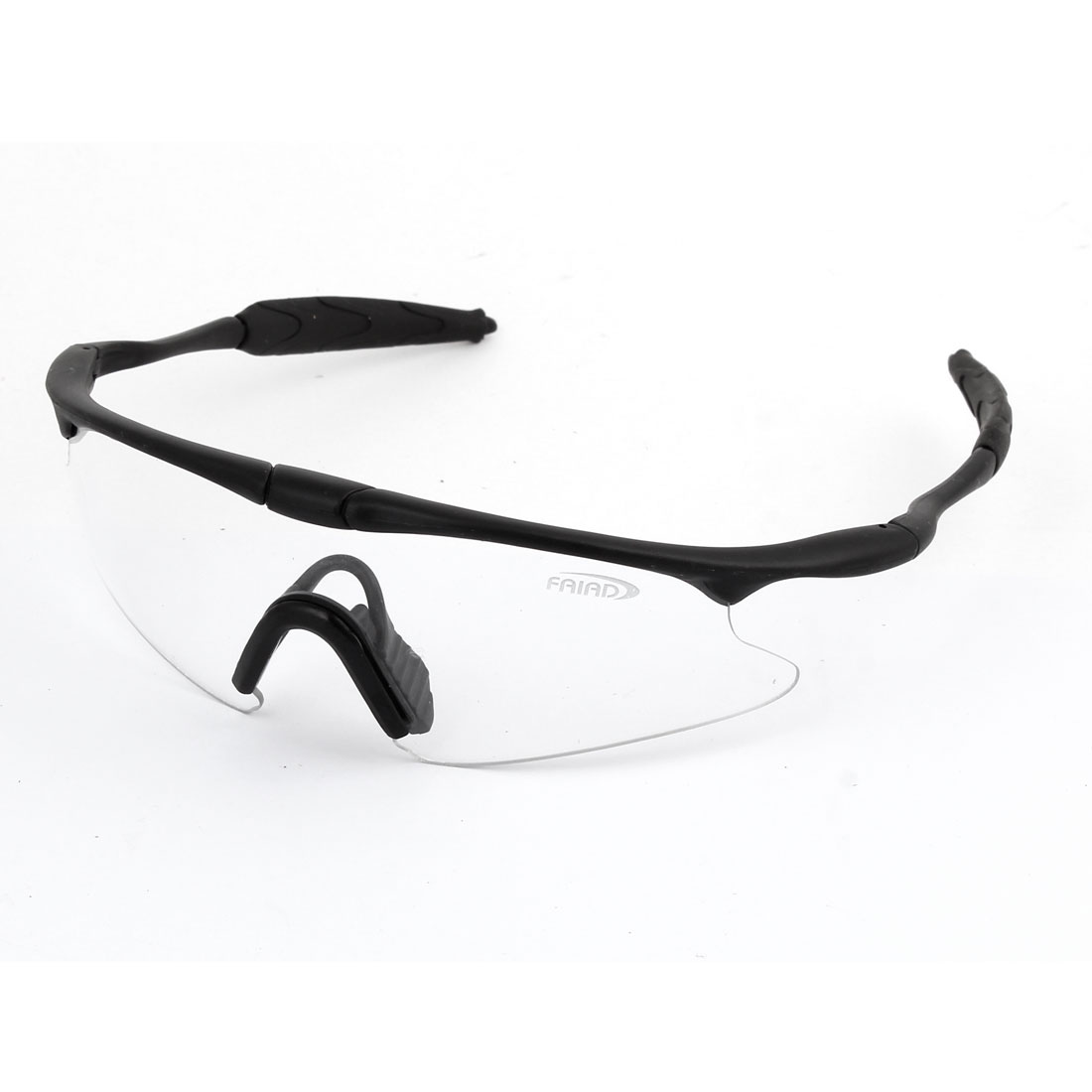 Unisex Protective Single Bridge Clear Lens Black Frame Plastic Arms Safety Eyeglasses